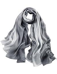 HYSENM Schal Seide Farbverlauf Leicht Weich Transparent Hautfreundlich Sonnenschutz Luftdurchlässig Seidenschal Damenschal Halstuch für Ganzjährig Stola