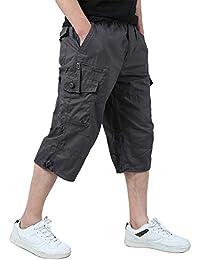 d01ce4d903 KEFITEVD Men's Casual Twill Elastic 3/4 Cargo Shorts Loose Fit Multi-Pocket  Capri