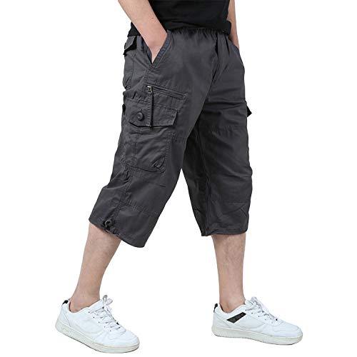 KEFITEVD Männer Shorts Kurz Hose Herren Cargo Taschen Stoffhose 3/4 Lang Trekkinghose Militär Shorts Strandhose Ausflug Reisen Grau 56/2XL (Etikett: 4XL)