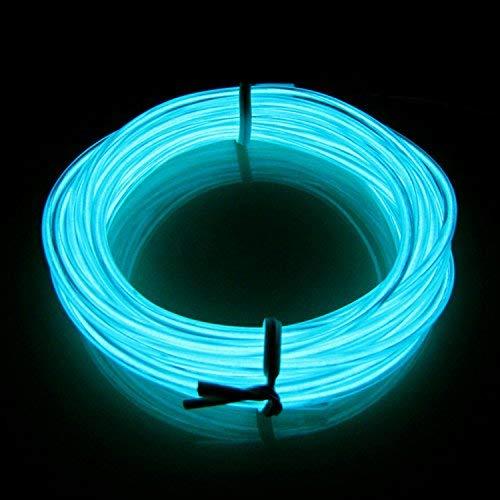 LERWAY 3M Couleur Fil Neon LED Flexible Lumière, EL Wire Lumineux Lumineuse pour Fete Decoration Noel Exterieure, Eclairage Velo, Bar Deco,Cuisine LED-Bleu Clair