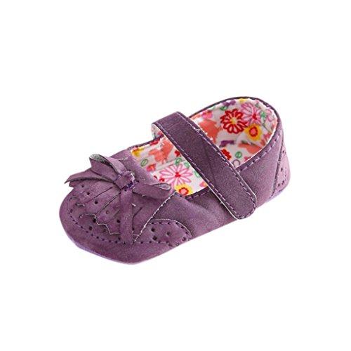 Hunpta Baby Mädchen Bogen-Knoten Leder Schuh Anti-Rutsch weiche Sohle Kleinkind (Alter: 0 ~ 6 Monate, Lila) Lila