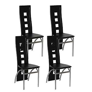 Vidaxl sedie moderne pelle nere per salotto e cucina 4 for Sedie nere moderne