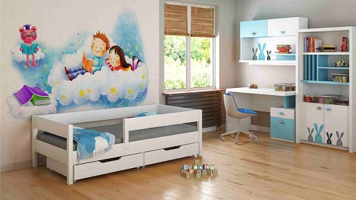 Single Beds For Kids Children Toddler Junior 140x70/160x80/180x80/180x90/200x90 NO DRAWERS NO MATTRESS INCLUDED (140x70, White) Children's Beds Home Bed with barriers - internal dimensions 140x70, 160x80, 180x80, 180x90, 200x90 (External dimensions: 147x77, 167x87, 187x87, 187x97, 207x97) Bed frame with load capacity of 150 kg, Fittings + installation instructions Universal bed entrance - right or left side, front barrier can be removed at later stage. 1