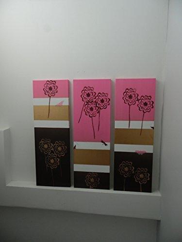 tableau-decoration-interieur-peinture-acrylique-fleurs-de-pissenlit-roses