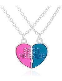 VEVICE 1 set de 2 Collares Dos Mejores Amigos para Siempre,Pendiente para BFF Best Friends,Collar con Colgante de Corazón,Estudiantes,