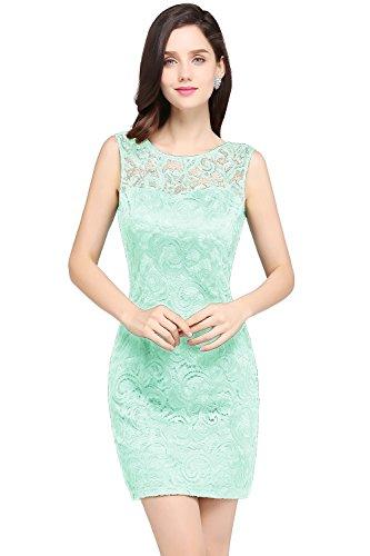 Damen Elegant Ämellos Spitzen Abiballkleid Abschluss Kleid mit Blumenstickerei Kurz Mintgrün 44