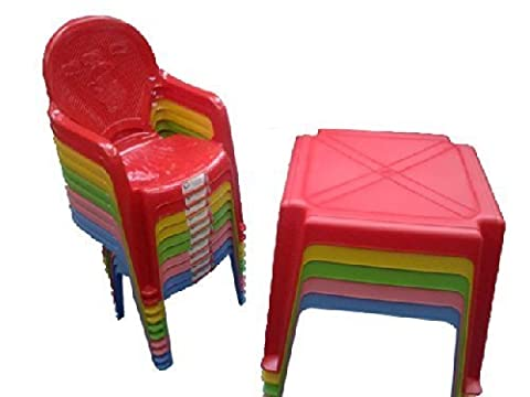 Kids / Childrens Nursery Table and Chair Set - Chairs with Duck Picture - Red Table with 4 Red Duck Chairs