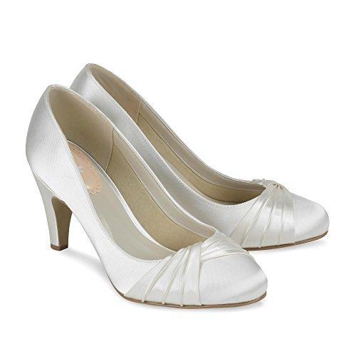 Paradox London Pink Toe Round Mid Heel Plissé Cour Ruffle chaussures de mariage Ivoire