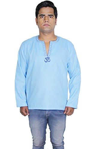 Manches-longues-motif-om-long-kurta-de-coton-de-la-mode-mens-t-shirts-tees
