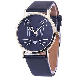 Vovotrade gato miau amor corazón de cuero de la banda analógica cuarzo voga reloj para mujer regalo (Negro)
