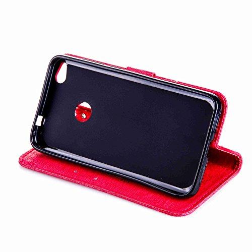 Hülle für iPhone 5 5S SE, Owbb Diamond Mädchen Katze Muster Handyhülle PU Ledertasche Flip Cover Wallet Case mit Stand Function Innenschlitzen Design Grau(Ein freier Stylus als Geschenk) Rose Red