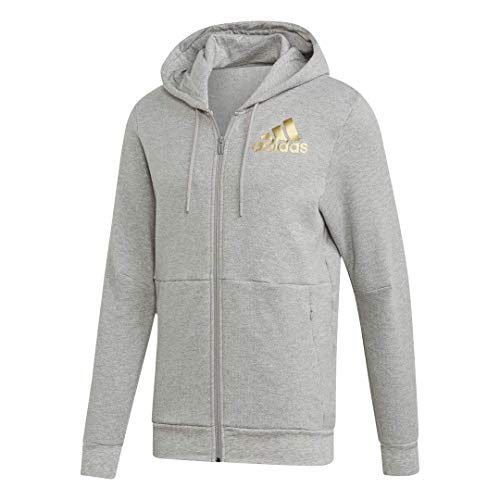 adidas Herren Sport Id Metallic Full-Zip Hooded Sweatshirt Kapuzenpullover Grey Heather X-Small - Grey Hooded Full Zip Sweatshirt