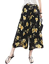 Verano Pantalones para Mujer - Moda Cintura Alta Casual Pantalon de Chifón  con Cintura Elástica Elegantes 2ed6c0ba0256