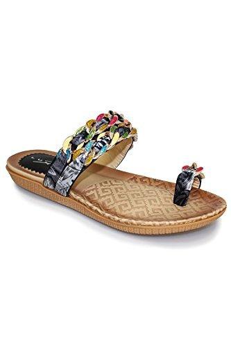 FANTASIA BOUTIQUE Damen Mehrfarben Schleife Kette Band Zehenschlaufe Bequem  Sandalen Schuhe Schwarz