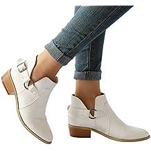 Minetom Femmes Bottines Casual PU Cuir Boucle Bottes Automne Mode Chelsea  Bottes Antidérapant Chaussures Bloc Talons 4ed808b7d60