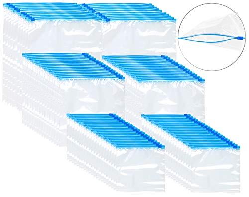 Rosenstein & Söhne Allzweckbeutel: 120 Premium Zip-Verschluss Gefrier-Beutel, 1/3/6 Liter, 68 µm (Zipp-Reißverschluss-Beutel)
