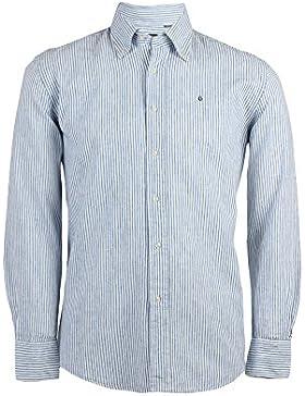 Camicia in misto lino rigata blu