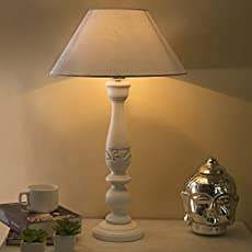 Homesake Floral Carved White Wood Table Lamp with White Shade