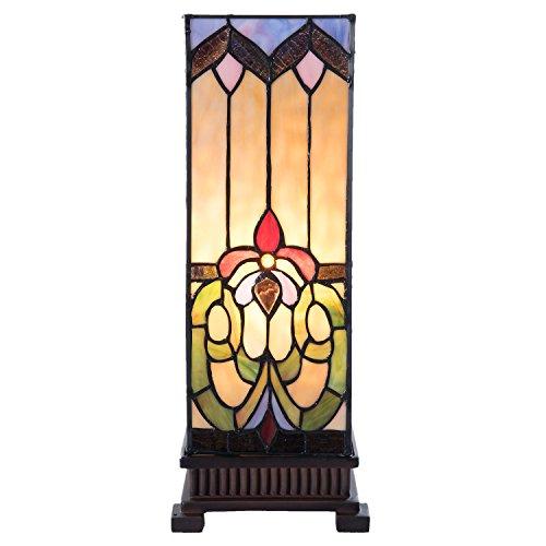 Lumilamp 5LL-5907 Tischleuchte Tischlampe Tiffany Stil Buntes Glas 17 * 17 * 44 cm / E27/Max.1x40 Watt