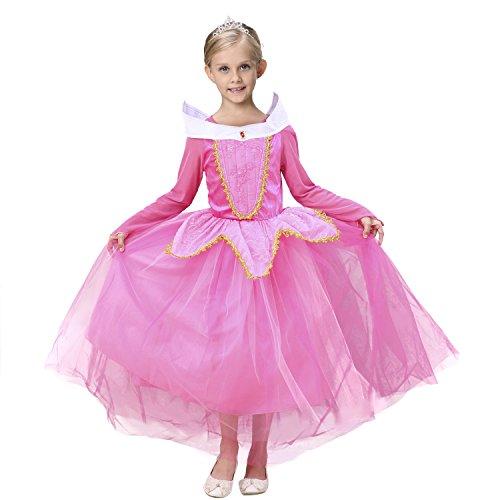 Das beste Aurora Prinzessin Rollenspiel Langarm Kleid sleeping (Aurora Perücke Kostüme Mädchen)