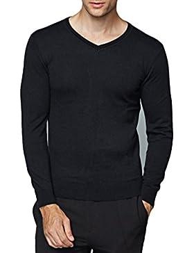 Suéteres De Los Hombres Coreano Delgado Color Sólido Otoño E Invierno Camisa De Fondo Ajustado Suéteres Jersey...