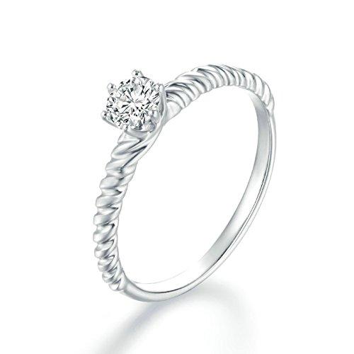 Blisfille 18K Gold Verlobungring Damen Silber Mit 0.3 Karat Diamant Solitärring Für Damen Gr. 45 (14.3) (3 Fake Karat Diamant-ring)