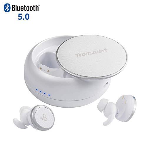 Wireless Bluetooth Kopfhörer, Tronsmart Bluetooth 5.0 TWS Sports kabellose Kopfhörer 12 Stunden Wiedergabezeit mit Ladestation und Mikrofon kompatibel mit alle Bluetooth-Geräte. - Weiß