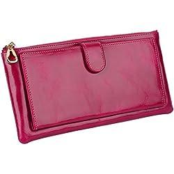 Yaluxe Mujer Lujoso Encerado Cuero Genuino Billetera Cartera Delgada Con Zipper Bolsillo Fit iPhone6+ / Samsung Galaxy S6 (Caja De Regalo) Rosado