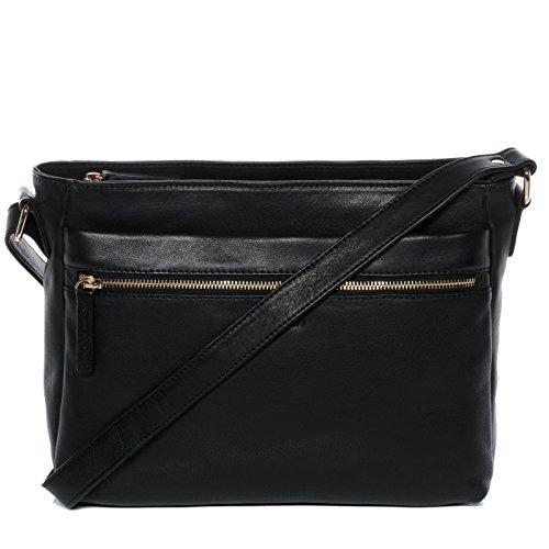 BACCINI Schultertasche Leder Emelie groß Handtasche Schultergurt Damen Umhängetasche echte Ledertasche Damentasche schwarz