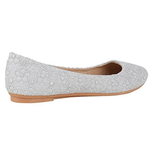 Klassische Damen Ballerinas Lederoptik Flats Basic Slipper Grau Spitze