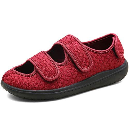 Sisttke Herren Diabetiker Hausschuhe Damen Geschwollene Hausschuhe Verstellbare Schuhe Arthritis Ödem Therapieschuhe Für Senioren Unisex-Größe 36-45