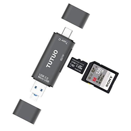 TUTUO Lettore di Schede SD/Micro SD (TF) 3 in 1 Universal USB Tipo C, USB-A e Micro USB OTG per MacBook Pro, Chromebook Pixel 2XL, Huawei P20 Mate 10 Pro, Samsung S8 S9, OnePlus 5 e altro (Grigio)