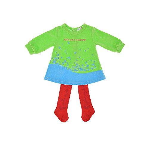 Agatha Ruiz De La Prada Baby 2tlg. Set Nicki-Kleid & Strumpfhose, Mädchen Outfit, PJ. COMETA 95595W15, 36M (96cm), Grün