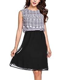 Zeagoo Damen Chiffon Kleid Rundhals Knielang Cocktailkleid Sommerkleider  Ärmellos mit modischem Muster 6dd0628e3b