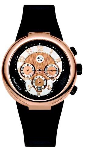 Philip Stein - 32-ARG-RBB - Montre Mixte - Quartz Analogique - Cadran doré - Bracelet Silicone Noir
