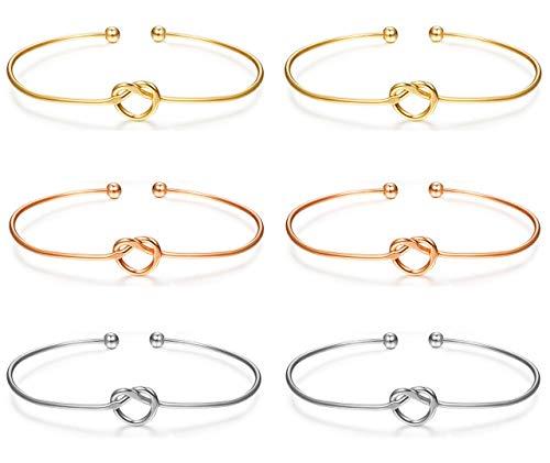Milacolato 6 Stücke Liebe Knoten Armreif Armbänder Einfache Manschetten Brautjungfer Armbänder für Frauen Mädchen Stretch Armbänder