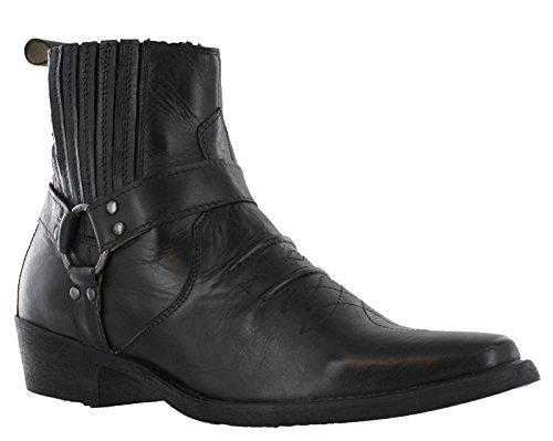 Stivaletti con tacco da uomo in pelle, con fibbia, stile cowboy western, eu 41-45, nero (black), 43 eu