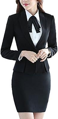 SK Studio Mujer Falda Blazer Chaqueta Con Muescas Blazer Negocios Manga Larga Ajustado Falda De Traje Abrigo Con Un Solo Botón