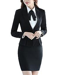 SK Studio Damen Rock Blazer Slim Fit Einfarbig Karriere Rock Anzug Sakko 7c16001291