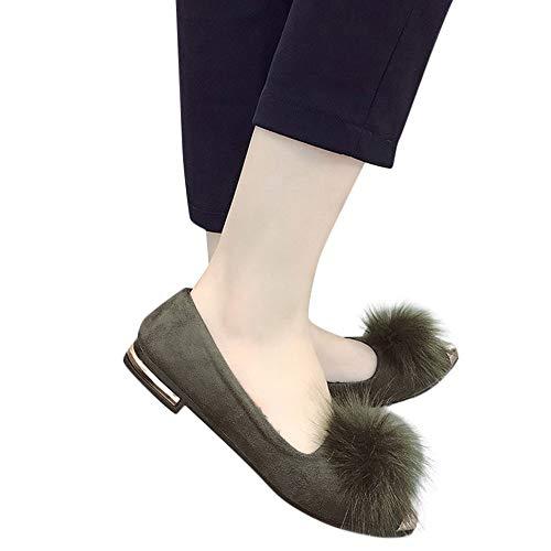 Tianwlio Frauen Herbst Winter Stiefel Schuhe Stiefeletten Boots Frauen Plüschkugelspitze Plus Samt Flache Unterseite Bequeme Freizeit Schuhe Grün 37