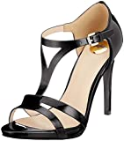 Buffalo Damen Mistletoe PATENT Leather Peeptoe Sandalen, Schwarz (Black 01 00), 37 EU