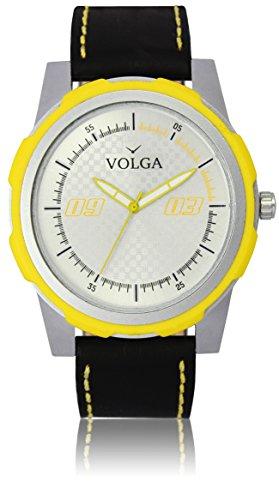 Vastrang Leather Analog White Dial Men's Watch(VL43_Black_Boys)