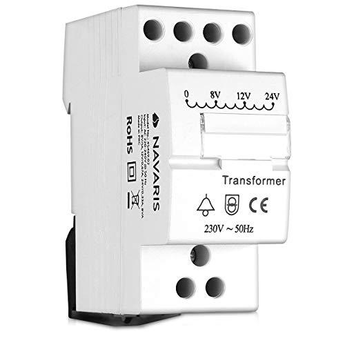 Navaris transformador de timbre - Transformador 220V 240V a 8V 12V 24V - Instalación de interruptor en carril DIN - Transformador para timbre 8VA