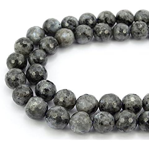 jennysun2010naturale pietra rotonda sfaccettata, perle 4mm, 6mm, 8mm, 10mm, 12mm, 1filo per borsa per braccialetto collana orecchini gioielli artigianato design guarigione, Larvikite Labradorite, 4 mm
