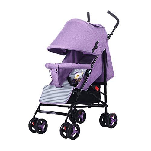 Strollers For Toddlers Ligero Plegable Baby Comfort Sentado y acostado Carrito 0-3 años de Edad (Color : Purple)