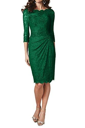 Ivydressing Damen 3/4 Aermel Etui-Linie Spitze KnieKurz Festkleid Promkleid Abendkleider Grün