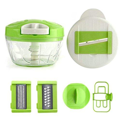 GuDoQi Gemüseschneider Manuelle Essen Chopper Hand Gehalten 6 in 1 Baby Küchenmaschine Küchenwerkzeug für Gemüse Zwiebeln Knoblauch Fleisch Nüsse (Genius Chopper)