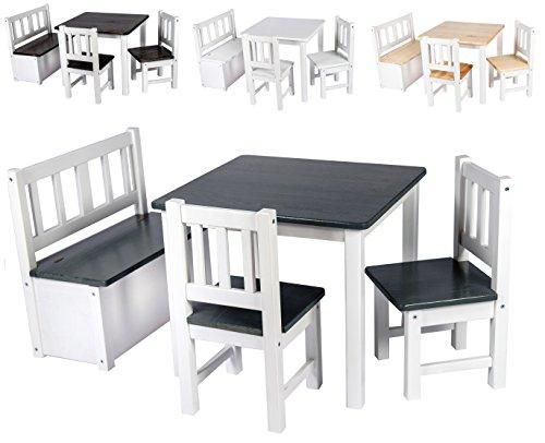 Bomi Kindermöbel Anna Tisch und Stühle | Kindertruhenbank aus Kiefer Massiv Holz für Kleinkinder, Mädchen und Jungen Anthrazit (Holz-spiel-tisch)