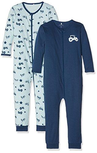 NAME IT Baby-Jungen NMMNIGHTSUIT 2P Zip Ensign Blue NOOS Schlafstrampler, Mehrfarbig, 98 (2erPack