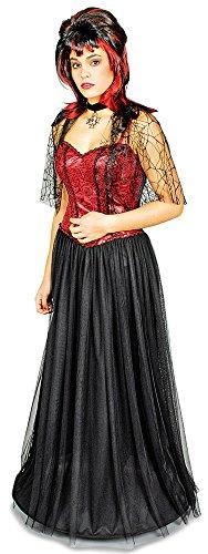 hka - Langes Hexen Gothik Kostümkleid für Damen - Gr. 36 38 (Damen Spinnenfrau Kostüm)